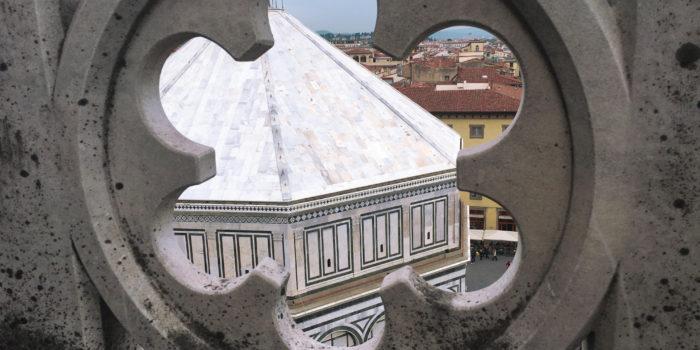 Vista del Battistero dalla terrazza della Cattedrale di Firenze